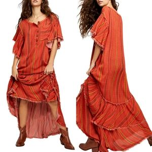 NWT Free People Stripe Henley Maxi Dress